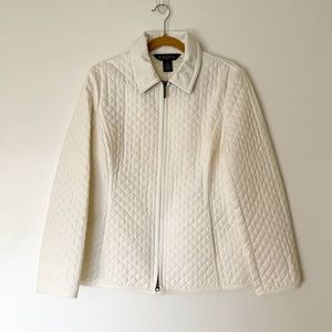 Brooks Brothers Womens Quilted Jacket 10 Off White